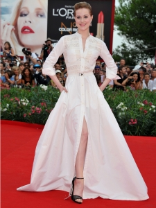 Evan Rachel Wood in Alessandra Rich Long Shirt Gown