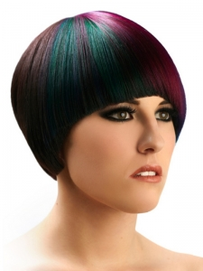 Chic Purple and Green Hair Highlights
