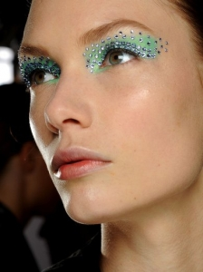 Bright Eye Makeup with Crystals at Christian Dior
