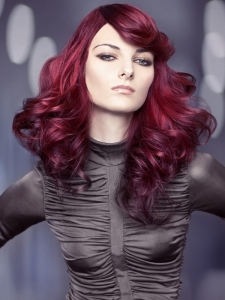 Chic Magenta Long Hair Style