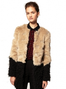Faux Fox Fur Contrast Coat