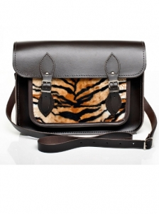 Brown Leather with Tiger Faux Fur Satchel