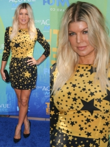 Fergie in Dolce & Gabbana Star Print Dress