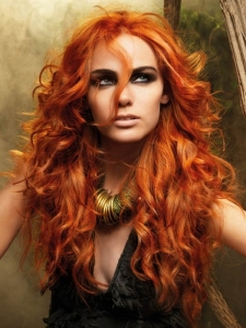 Voluminous Long Red Hair Style