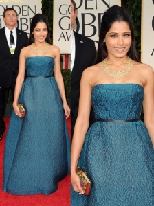 Freida Pinto in Prada at 2012 Golden Globes