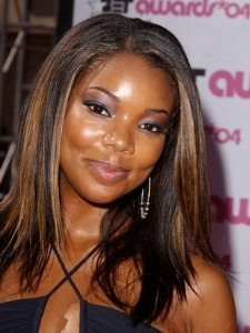 Gabrielle Union Hairstyle with Golden Highlights