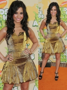Demi Lovato in Shimmery Gold Dress
