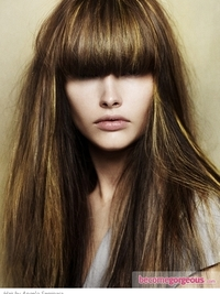 Dark Brown Hair Color with Gold Highlights