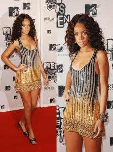 Rihanna in Silver/Gold Sequin Mini Dress
