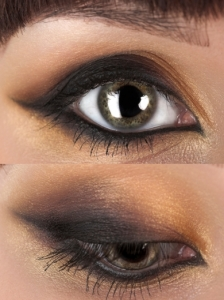 Gold and Black Smokey Cat Eyes Makeup