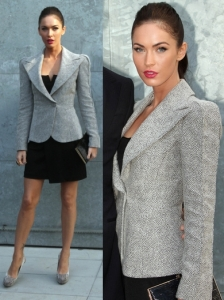 Megan Fox in Giorgio Armani Grey Blazer