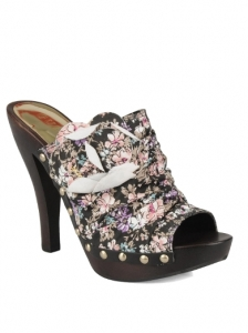 GUESS Victoriana Dark Floral Printed Clogs