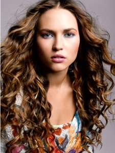 Flirty Long Curly Hair Style