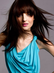 Long Blunt Bangs Layered Hair Style