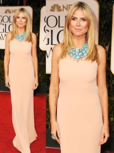 Heidi Klum in Calvin Klein at 2012 Golden Globes