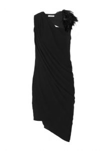 Helmut Lang Feather-Embellished Crepe Dress