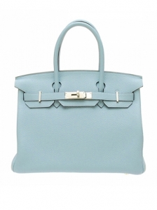 Hermes Birkin Ciel Togo Leather Bag