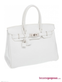 Hermes Birkin White Clemence Leather Bag