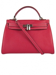Hermes Kelly Red Silver Shoulder Bag