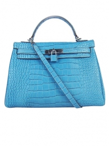 Hermes Kelly Tote Deep Skyblue Handbag