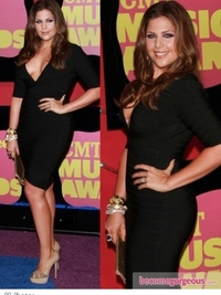 Hilary Scott in Herve Leger Black Bandage Dress