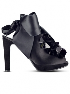 Hugo Boss Satin Bow Black Sandal