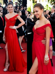 Irina Shayk in Roberto Cavalli Red Gown