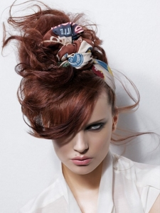 Messy Red Updo Hair Style
