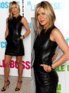 Jennifer Aniston in Celine Black Leather Dress