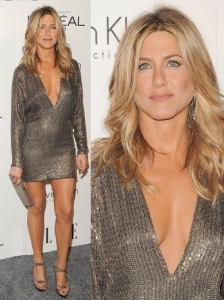 Jennifer Aniston in Kaufman Franco Metallic Dress