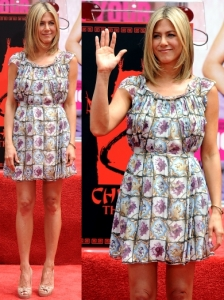 Jennifer Aniston in Prada Mosaic Print Dress