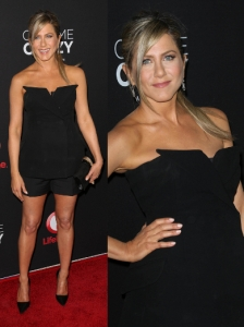 Jennifer Aniston in Dior Tux Style Corset and Shorts