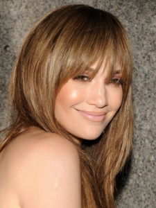 Jennifer Lopez Layered Hairstyle with Bangs