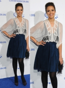 Jessica Alba in Christian Dior Skirt and Top