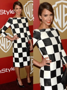 Jessica Alba in Louis Vuitton Checkerboard Print Dress