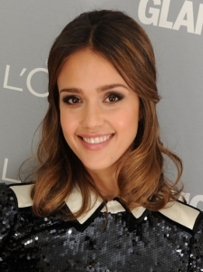 Jessica Alba Pinned Back Hairstyle