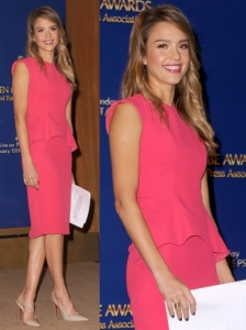 Jessica Alba in Christian Dior Peplum Dress
