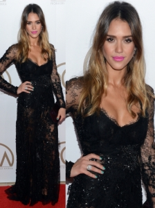 Jessica Alba in Elie Saab Couture Lace Gown