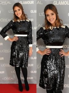 Jessica Alba in Tory Burch Sequin Dress