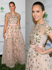 Jessica Alba in Valentino Resort 2013 Floral Dress
