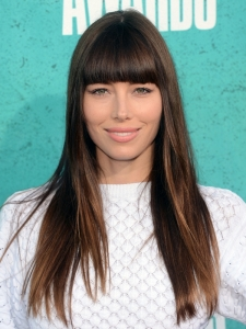 Jessica Biel Long Hair with Blunt Bangs