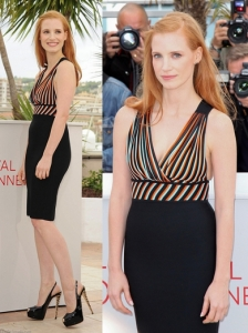 Jessica Chastain in Hervé L. Leroux Cocktail Dress