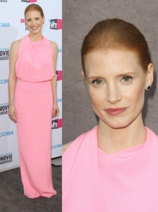 Jessica Chastain in Balenciaga Pink Halter Gown