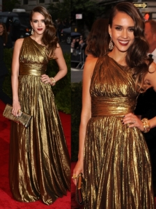 Jessica Alba in Michael Kors Gold Lame Gown