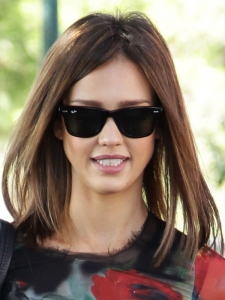 Jessica Alba Long Straight Bob Hairstyle