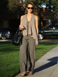 Jessica Alba Casual Jumpsuit Outfit