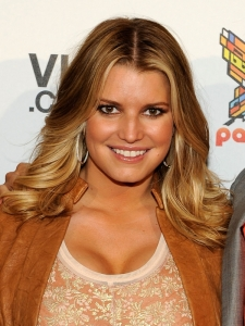 Jessica Simpson Mid-Length Wavy Hairstyle