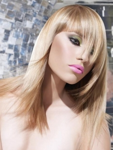 Long Blonde Tapered Haircut