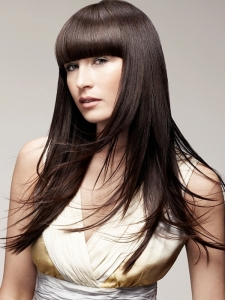 Blunt Bangs Long Hair Style