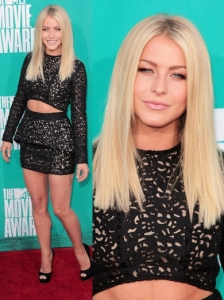 Julianne Hough in Sally Lapointe Lace Cut-out Dress